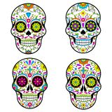 Мексиканские черепа сахара, день мертвой иллюстрации вектора на белой предпосылке иллюстрация вектора
