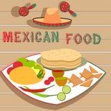 Мексиканский вектор плиты еды Стоковые Изображения RF