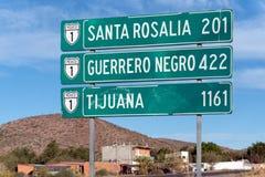 Мексиканский дорожный знак Нижняя Калифорния Тихуана Стоковые Фотографии RF