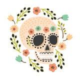 Мексиканский день мертвых черепов сахара Милая и современная плоская иллюстрация вектора Стоковая Фотография