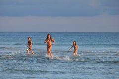 Мексиканский залив пляжа Панама (город) около захода солнца живописного стоковое фото rf