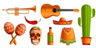 Мексиканский комплект значка музыки, стиль шаржа бесплатная иллюстрация
