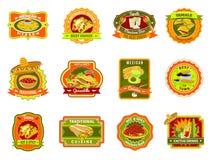 Мексиканский комплект эмблемы еды иллюстрация вектора