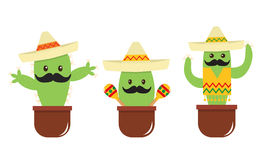 Мексиканский милый кактус шаржа с усиком и sombrero Стоковые Фотографии RF