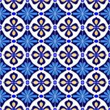 Мексиканский стилизованный talavera кроет безшовную картину черепицей в голубом и белом, вектор Стоковые Изображения