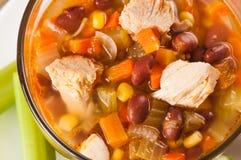 Мексиканский суп с цыпленком, сельдереем и овощами Стоковые Фотографии RF