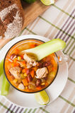 Мексиканский суп с цыпленком, сельдереем и овощами Стоковое Изображение RF