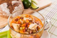 Мексиканский суп с цыпленком, сельдереем и овощами Стоковое Фото