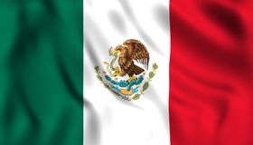 Мексиканский флаг развевая в ветре иллюстрация штока