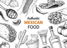 Мексиканский эскиз еды и питья Съемка и burito текила вектора, Стоковое Изображение RF