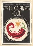 Мексиканское меню еды с красным chili на черной предпосылке иллюстрация вектора