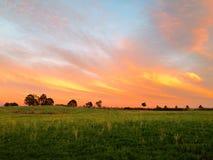 Мексиканское поле на заходе солнца Стоковые Изображения RF
