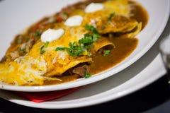 Мексиканское enchillada заполненное с сочным мясом на плите Стоковая Фотография RF