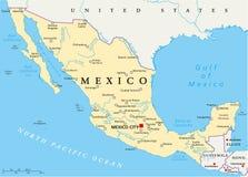 Мексиканськая политическая карта иллюстрация вектора