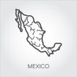 Мексиканський линейный значок карты Форма страны для атласа, землеведения, проектов образования и других потребностей дизайна Стоковое Изображение