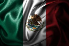 Мексиканський Silk флаг сатинировки Стоковое Изображение RF