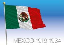Мексика, исторический флаг 1916-1934, объединенные мексиканские положения бесплатная иллюстрация