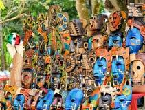Мексика, маска Chichen Itza майяская на мексиканском рынке Стоковые Фотографии RF