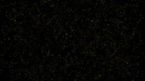 Мелькая частицы, случайное движение частиц На красивой расслабляющей предпосылке Блестящие частицы с bokeh акции видеоматериалы