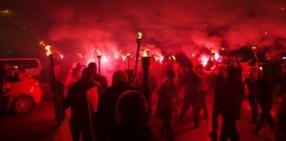 Мемориальное шествие с факелами стоковое фото rf