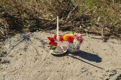 Мемориал рекой Roanoke к женщине которая умерла во время урагана Флоренс стоковое фото rf
