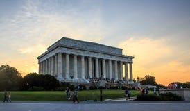 Мемориал Линкольна на заходе солнца Стоковые Фотографии RF