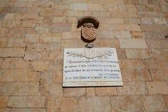 Мемориал Саламанки к писателю Cervantes Стоковые Изображения RF