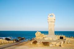 Мемориальный памятник в пляже Ganjeolgot, Ульсане, Корее Стоковые Фотографии RF