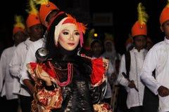 Мемориальный парад Eid 1 город 1435 h Nganjuk, East Java, Ind Syawal стоковые изображения
