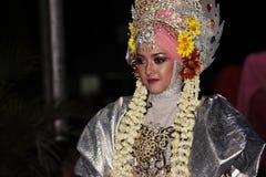 Мемориальный парад Eid 1 город 1435 h Nganjuk, East Java, Ind Syawal стоковая фотография