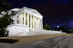 Мемориал Jefferson на ноче Стоковое фото RF
