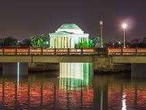 Мемориал Jefferson на ноче Стоковое Изображение RF