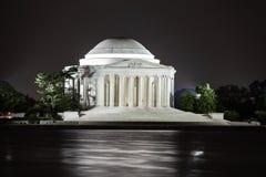 Мемориал Jefferson на ноче, DC Вашингтона Стоковые Изображения RF