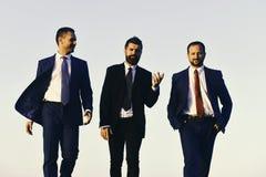 Менеджеры идут вперед и говорят Руководители с бородой и усмехаясь стороны обсуждают проект Стоковое Изображение