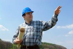 менеджер конструкции здания планирует место Стоковое Фото