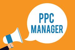 Менеджер Ppc текста сочинительства слова Концепция дела для которой рекламодателя оплачивают гонорар each time одно их объявлений иллюстрация вектора