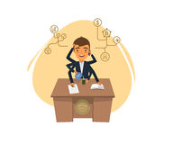 Менеджер при много руки сидя на таблице Иллюстрация штока