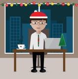 Менеджер сидя на таблице, офисе украшенном для рождества иллюстрация вектора