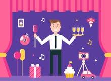 Менеджер события на этапе окруженном объектами события и партии Управление события и иллюстрация агенства события Стоковое Фото
