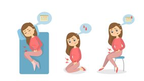 Менструальная иллюстрация боли иллюстрация вектора