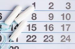 Менструальный календарь с тампонами и пусковыми площадками Цикл менструации Гигиена и защита стоковое изображение