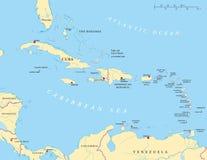 Меньшая Антильских островов политическая карта больших и Стоковое Фото