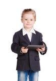Меньшая девушка дела с таблеткой стоковое фото rf