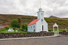 Меньшая историческая церковь в Laufas около Akureyri, Исландии Стоковые Изображения