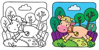 Меньшая книжка-раскраска коровы или икры Стоковое фото RF