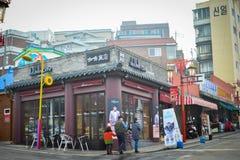Меньшая кофейня, Корея Стоковое Фото