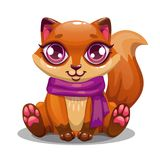 Меньшая лиса милого шаржа сидя Стоковая Фотография RF