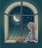 Меньшая милая девушка шаржа с плюшевым медвежонком Стоковая Фотография RF