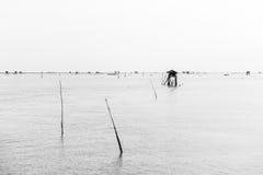 Меньшая хата в море на челке Taboon, Phetchaburi, Таиланде Стоковое Фото