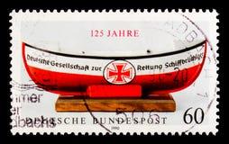 Меньшая шлюпка для деньг-собрания, 125th годовщины немецкого serie заведения спасательной шлюпки, около 1990 Стоковая Фотография RF